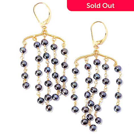 125-628 - Kristen Amato Peacock Cultured Freshwater Pearl Chandelier Earrings
