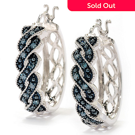 125-634 - Diamond Treasures® Sterling Silver 0.25ctw Diamond Fancy Twist Hoop Earrings