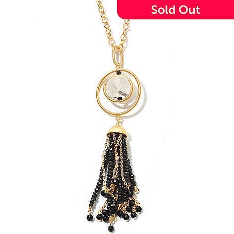 125-635 - Kristen Amato Tourmalinated Quartz & Black Spinel Pendant w/ 18'' Chain