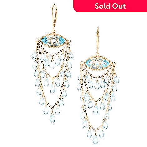 125-636 - Kristen Amato 34.45ctw Swiss Blue Topaz Chandelier Earrings