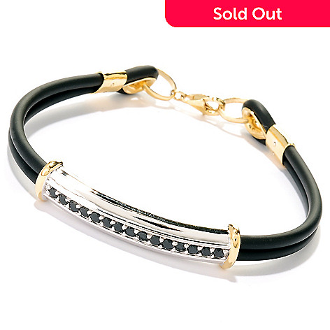 125-648 - Men's en Vogue 1.20ctw Black Spinel Dual Cord Bracelet
