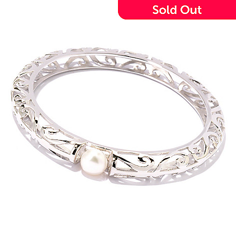 125-652 - Sterling Silver 7.75'' 9-10mm Natural Colored Freshwater Cultured Pearl Bangle Bracelet