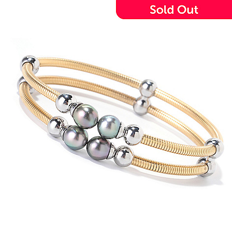 125-655 - Stainless Steel 7'' 7-8mm Black Tahitian Cultured Pearl Double Row Bangle Bracelet