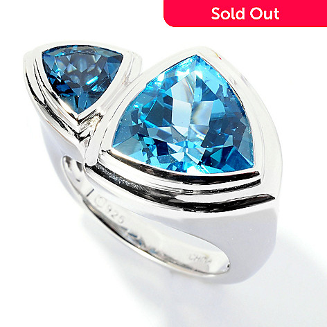 125-664 - Gem Insider™ Sterling Silver 6.40ctw Blue Topaz Double Trillion Wrap Ring