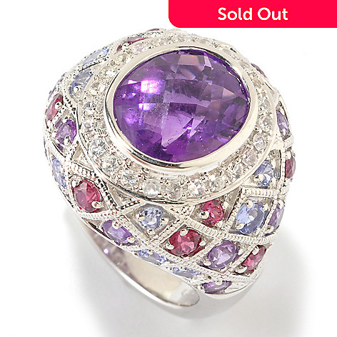 125-669 - Gem Insider™ Sterling Silver 6.19ctw Amethyst & Multi Gemstone Accent Ring