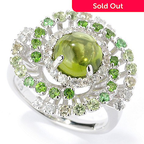 125-671 - Gem Insider™ Sterling Silver 2.94ctw Peridot & Multi Gemstone Swirl Ring