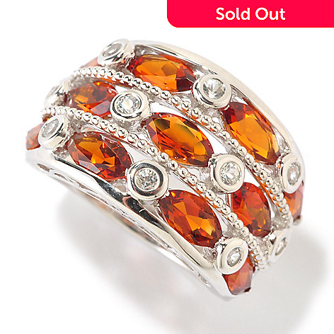 125-672 - Gem Insider™ Sterling Silver 2.88ctw Madeira Citrine & Sapphire Three-Row Ring