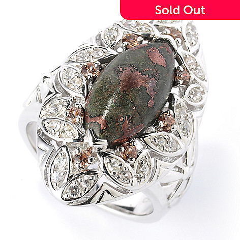 125-676 - Gem Insider Sterling Silver 16 x 8mm Copper Ore & Multi Gem Marquise Ring