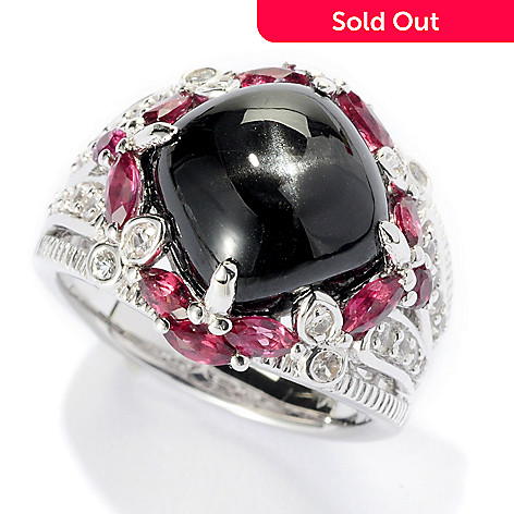 125-678 - Gem Insider™ Sterling Silver 11 x 11mm Black Star Diopside & Multi Gem Ring