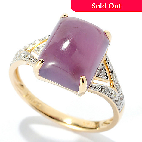 125-680 - Gem Insider™ 14K Gold 11 x 8.75mm Purple Chalcedony & Diamond Ring