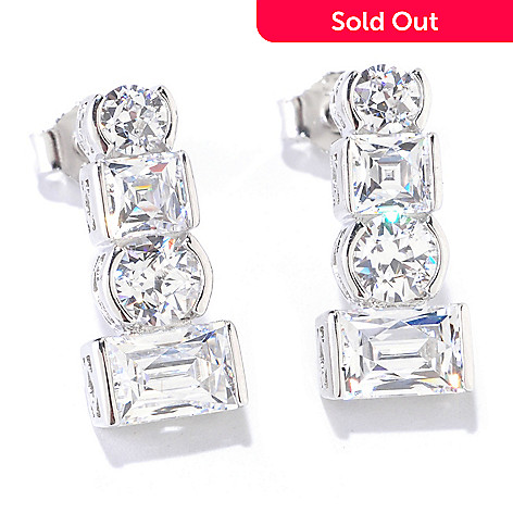 125-690 - TYCOON for Brilliante® Platinum Embraced™ 4.86 DEW Semi-Bezel Drop Earrings