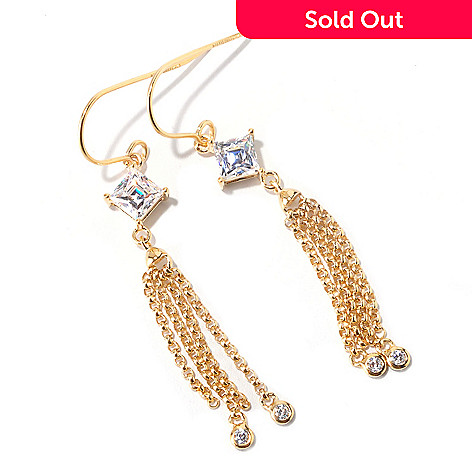 125-692 - TYCOON 1.58 DEW Square Cut Tassle Simulated Diamond Drop Earrings