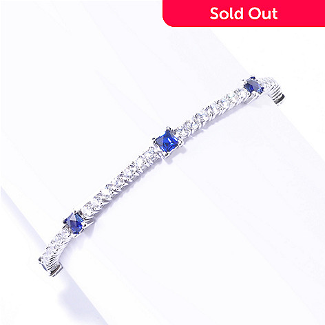125-697 - TYCOON Platinum Embraced™ Simulated Diamond Blue & White Tennis Bracelet