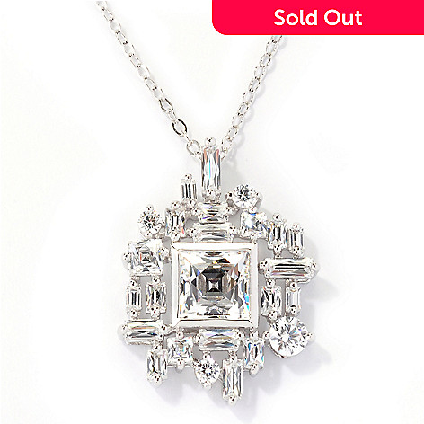 125-698 - TYCOON Platinum Embraced™ 4.34 DEW Multi-Cut Simulated Diamond Pendant w/ Chain