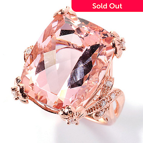 125-700 - Gem Treasures 14K Rose Gold 19.11ctw Cushion Cut Morganite & Diamond Ring