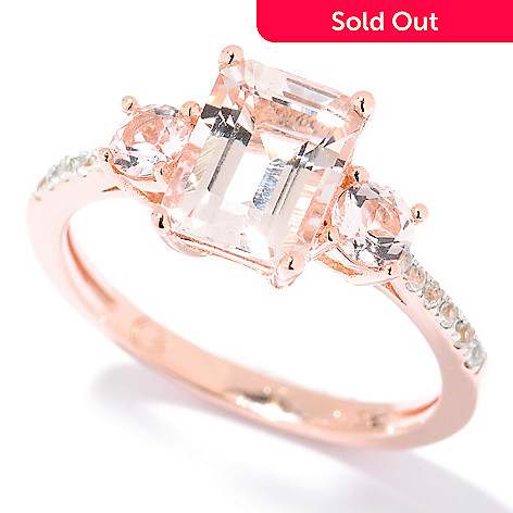 125-716 - NYC II® 1.58ctw Emerald Cut Morganite & White Zircon Ring