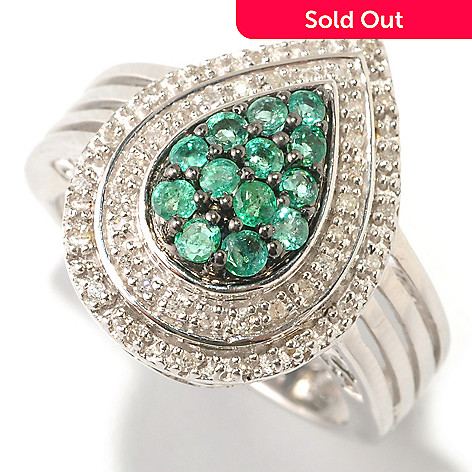 125-719 - NYC II™ Zambian Emerald & Diamond Pear Shaped Ring