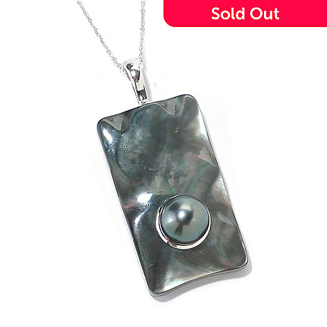 125-721 - Sterling Silver 10-11mm Black Tahitian Cultured Pearl & Mother-of- Pearl Pendant