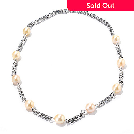 125-731 - 24.5'' 12-13mm Oval Golden South Sea Cultured Pearl Station Necklace