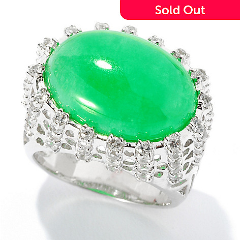 125-738 - Sterling Silver 13 x 18mm Oval Green Jade & White Topaz East West Ring