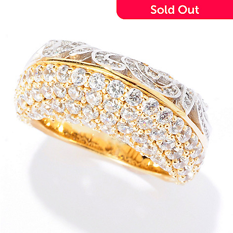 125-744 - Sonia Bitton Two-tone 2.53 DEW Simulated Diamond Double-Sided Domed Ring