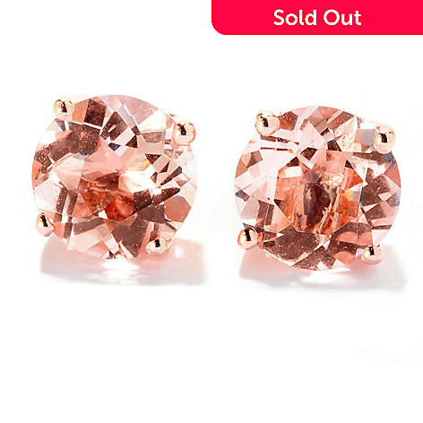 125-750 - Gem Treasures® 14K Rose Gold 1.96ctw Pink Morganite Stud Earrings