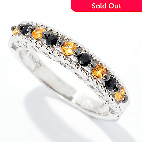 125-751 - Gem Treasures Sterling Silver 0.30ctw Sapphire & Black Spinel Stack Ring