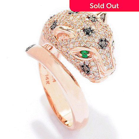 125-770 - Effy 14K Rose Gold 1.34ctw Diamond & Emerald Leopard Bypass Ring