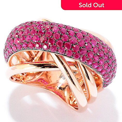 125-774 - Effy 14K Rose Gold 2.70ctw Ruby Wide Crossover Ring