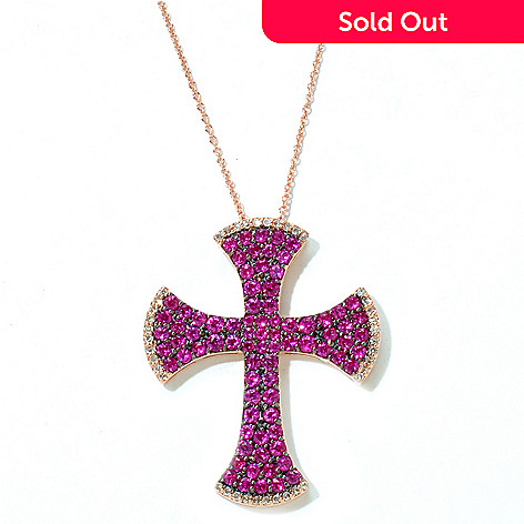 125-776 - EFFY 14K Rose Gold 2.15ctw Ruby & Diamond Cross Pendant w/ Chain