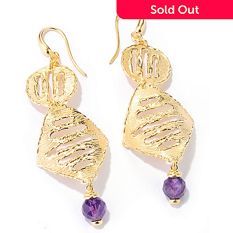 125-791 - Toscana Italiana Gold Embraced™ 6.40ctw Amethyst Etruscan Drop Earrings