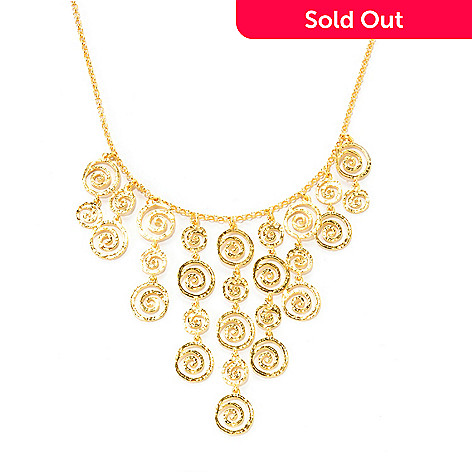 125-793 - Toscana Italiana Gold Embraced™ 18'' Etruscan Hammered Spiral Dangle Necklace w/ 2'' Extension