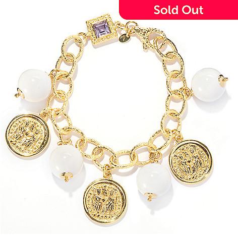 125-795 - Toscana Italiana 18K Gold Embraced™ 8'' Gemstone Bead & Amethyst Charm Bracelet