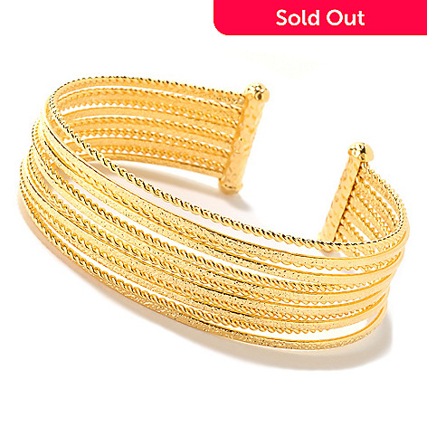 125-798 - Toscana Italiana Gold Embraced™ Multi-Textured Cuff Bracelet