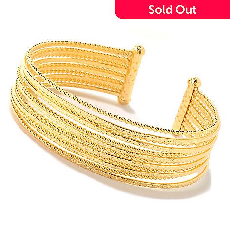 125-798 - Toscana Italiana Gold Embraced™ Multi-Textured Cuff Bracelet