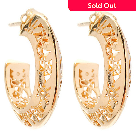 125-799 - Italian Designs with Stefano 14K Gold Choice Ricami Hoop Earrings