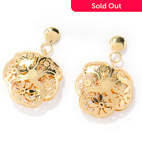 125-800 - Italian Designs with Stefano 14K Gold Ricami Flower Drop Earrings
