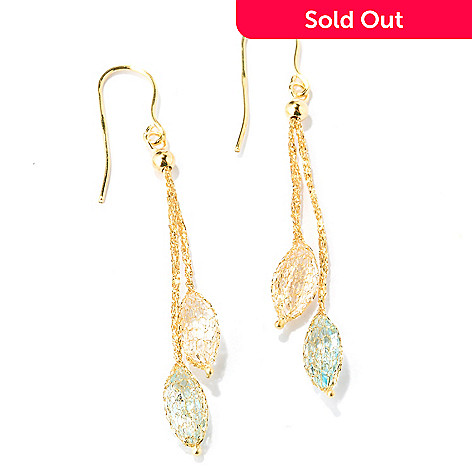 125-805 - Italian Designs with Stefano 14K Gold Rock Crystal & Topaz Earrings