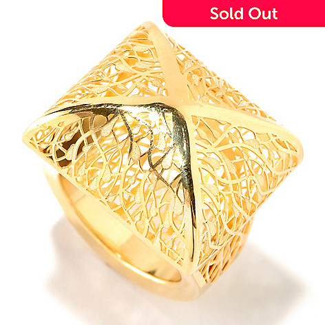 125-819 - Italian Designs with Stefano 14K Gold Ricami Pyramid Ring