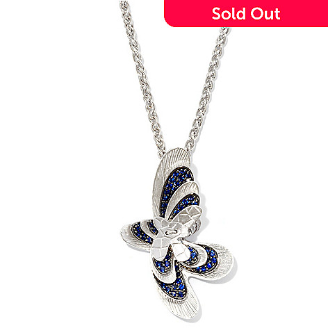 125-829 - EFFY Sterling Silver 1.10ctw Blue Sapphire ''Balissima'' Butterfly Pendant