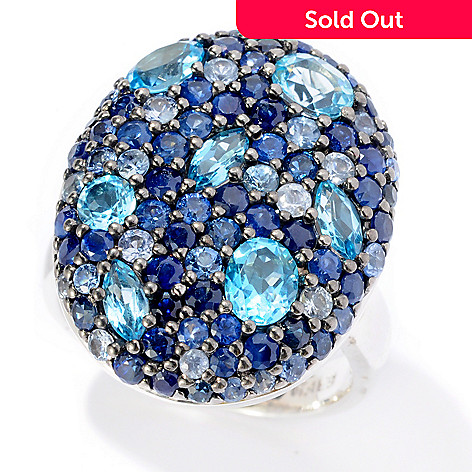 125-835 - Effy Sterling Silver 4.51ctw Blue Sapphire Oval ''Balissima'' Ring