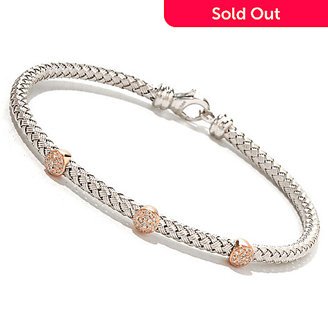 125-837 - EFFY Sterling Silver & 14K Rose Gold 0.17ctw Diamond Tennis Bracelet
