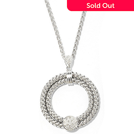 125-838 - EFFY Sterling Silver 0.05ctw Diamond Balissima Woven Circle Pendant
