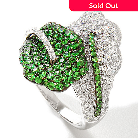 125-850 - EFFY 14K White Gold 2.40ctw Diamond & Tsavorite Leaf Bypass Ring