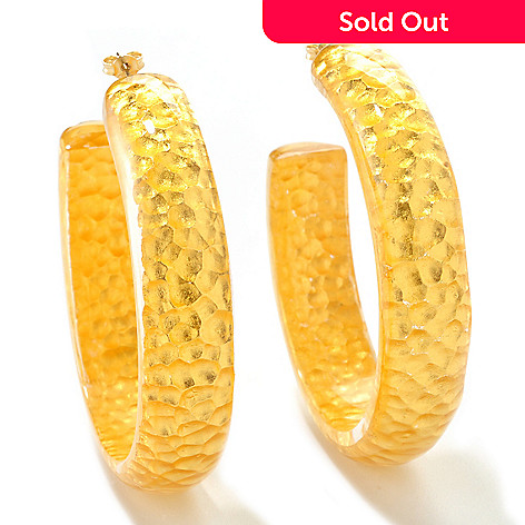 125-856 - Italian Designs with Stefano 24K ''Oro Puro'' Gold Foil & Resin Hoop Earrings