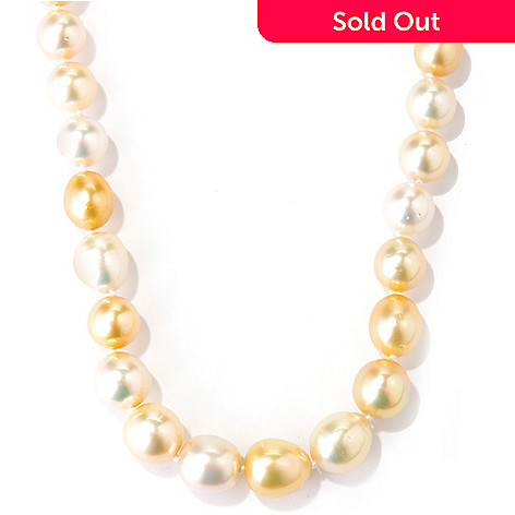 125-870 - 9-11mm South Sea Cultured Pearl Necklace w/ Diamond Clasp