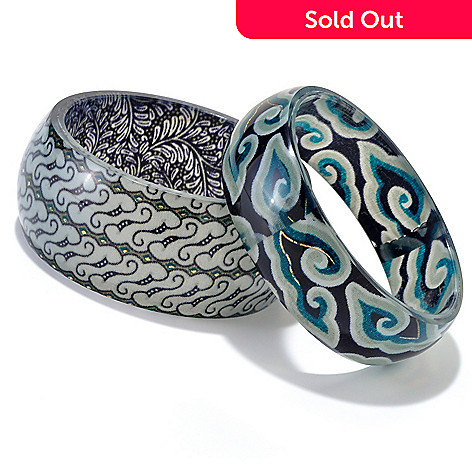 125-883 - GeoArt by Cynthia Gale Set of Two Native Batik Slip-on Bangle Bracelets