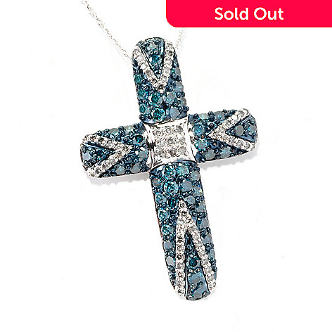 125-888 - Diamond Treasures 14K White Gold 2.00ctw Blue & White Diamond Cross Pendant