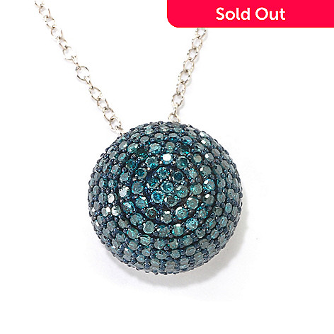 125-890 - Diamond Treasures Sterling Silver 1.00ctw Diamond Pave Ball Pendant
