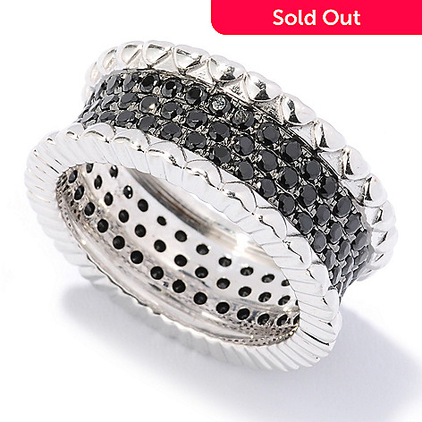 125-891 - Gem Treasures® Sterling Silver 1.90ctw Three-Row Black Spinel Pave Band Ring